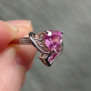 Kay Jewelers Jewelry - 10K White Gold Pink Sapphire Heart Size 4.25